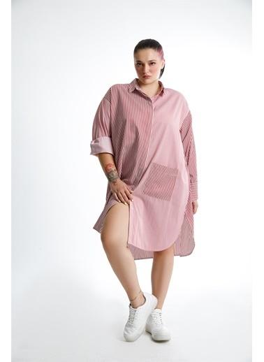 Luokk Rıno  Oversize Gömlek Elbise Yanları Yırtmaçlı  Çizgili Kırmızı